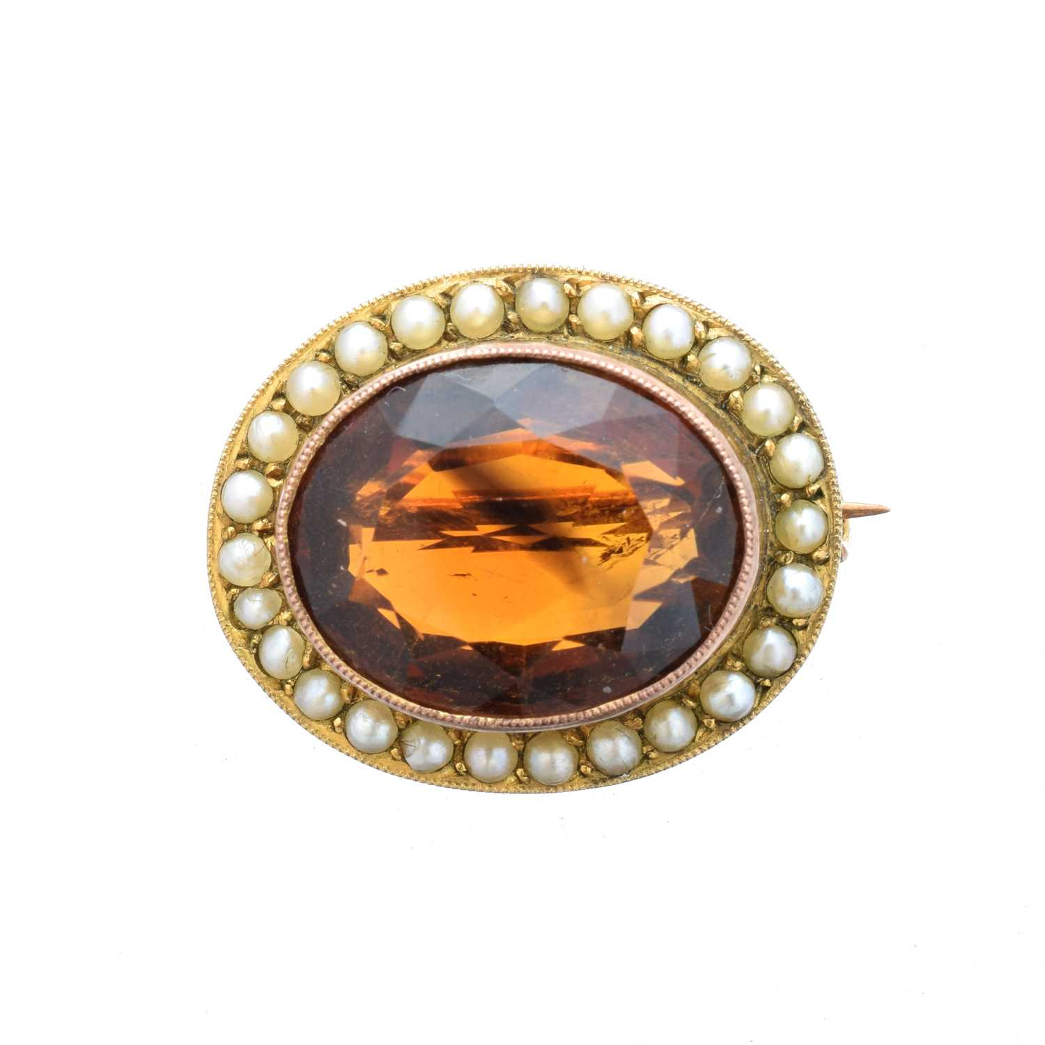 Lot 24-A citrine and split pearl brooch