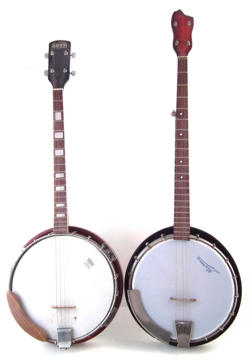 Lot 16-Raven four string banjo and a five string banjo