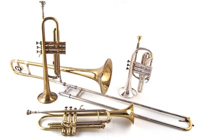 Lot 36-Two trumpets, a Cornet and a Trombone