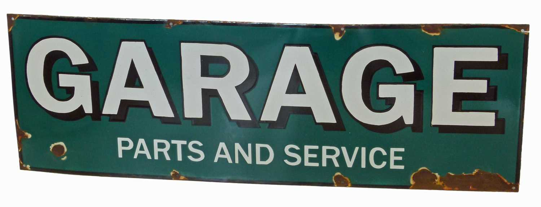 Lot 27-Garage parts and service, enamel sign