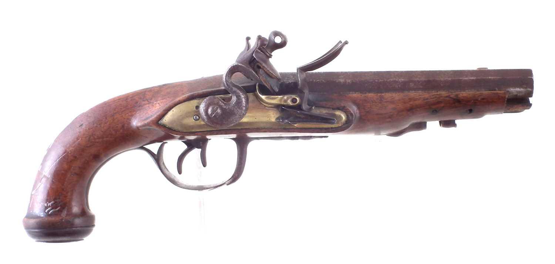 Lot -Continental double barrel flintlock pistol
