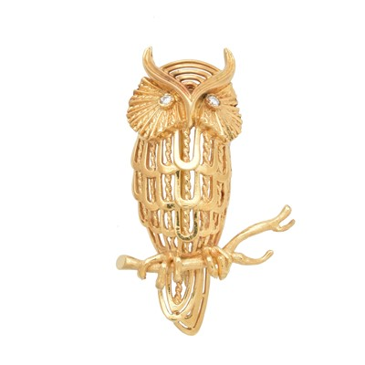 Lot 32-A 1970s 18ct gold owl brooch