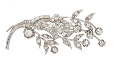 Lot 31-A diamond floral spray brooch