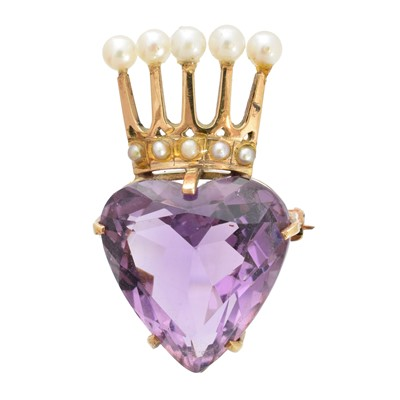 Lot 22-A 9ct gold amethyst and pearl brooch