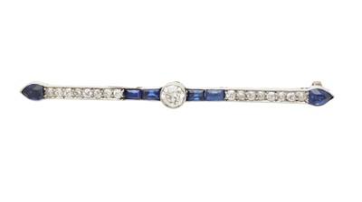 Lot 17-An Art Deco sapphire and diamond bar brooch