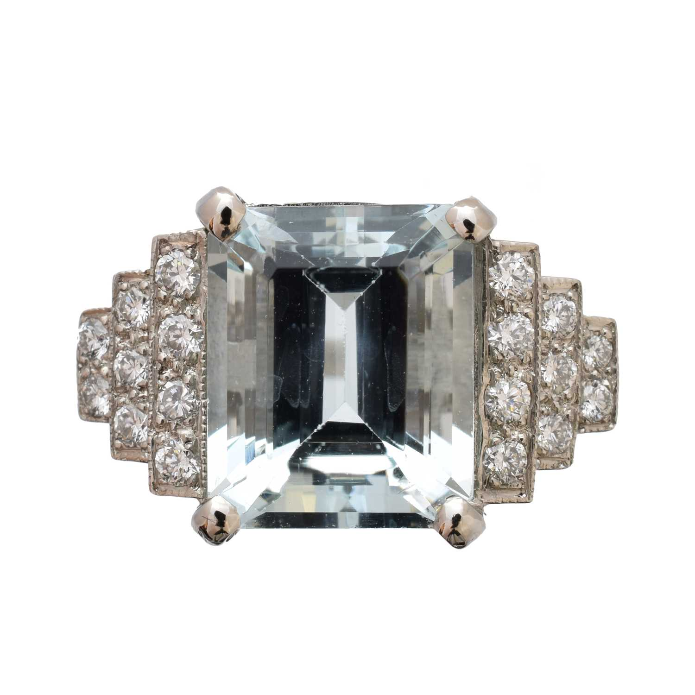 Lot 167-An aquamarine and diamond dress ring
