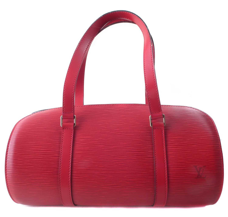 Lot 8 - A Louis Vuitton red Epi Soufflot handbag and pouch