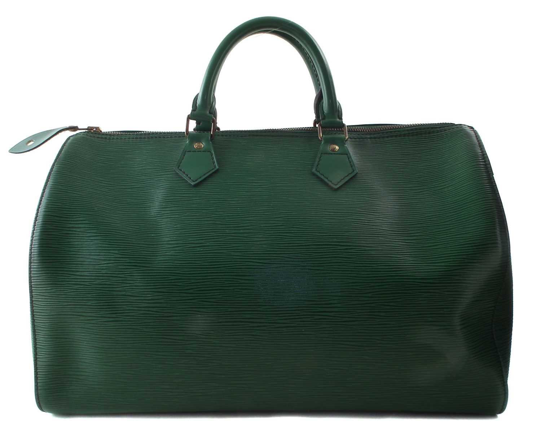 Lot 37-A Louis Vuitton green Epi Speedy 35 handbag