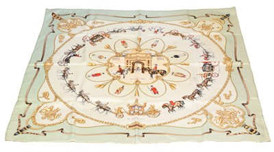 "Lot 50-A Hermès ""The Royal Mews"" silk scarf by Jean De Fougerolle"