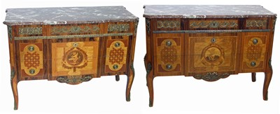 Lot -A pair of Mid 20th century Italian design commode chests