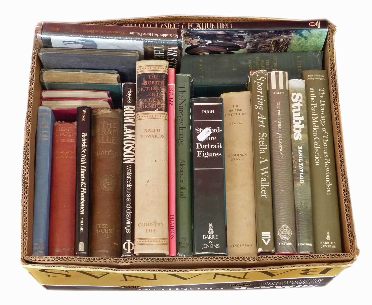 Lot 33-A box of antique reference books.