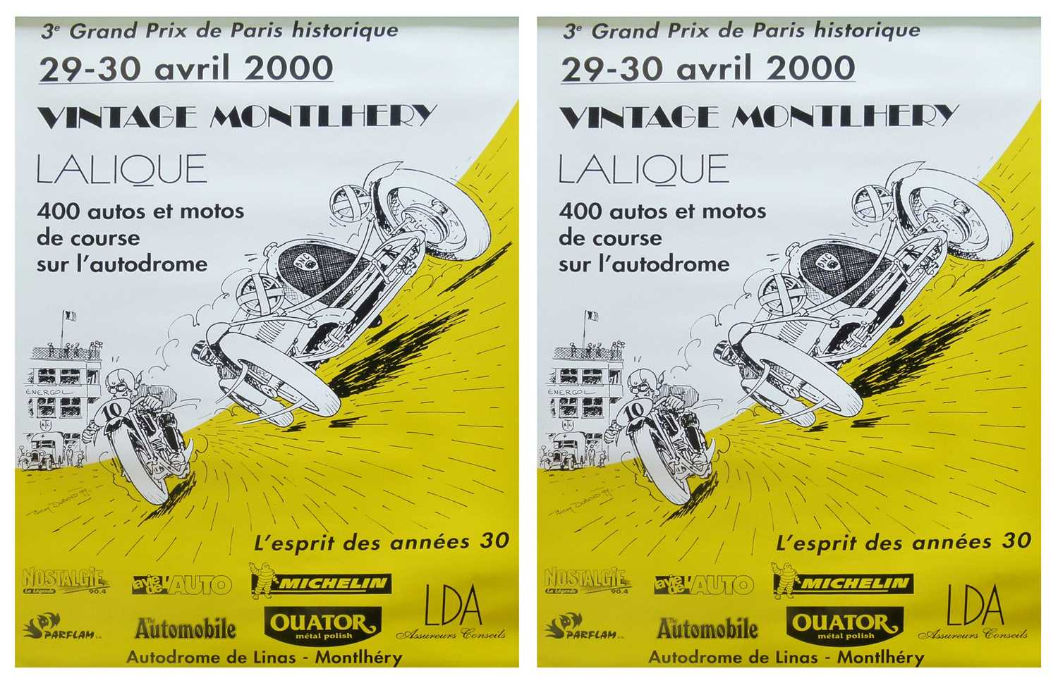 Lot 11-Two Vintage Montlhery 2000 posters.