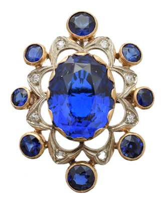 Lot 18-A synthetic spinel, sapphire and diamond brooch