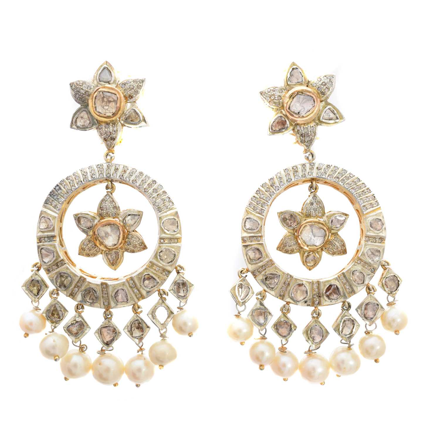 Lot 48-A pair of Indian diamond earrings