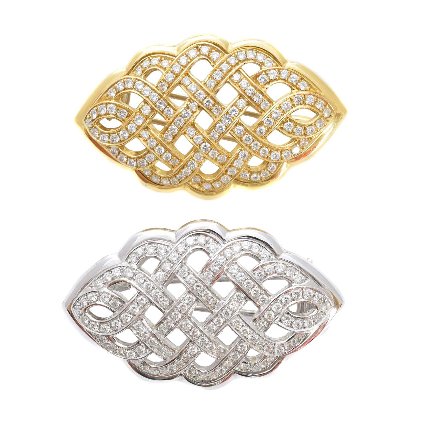 Lot 26-A pair of diamond brooches