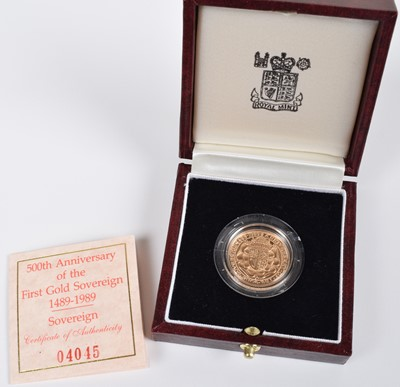 Lot 90-1989 Royal Mint, Proof Sovereign, 500th Anniversary Edition.