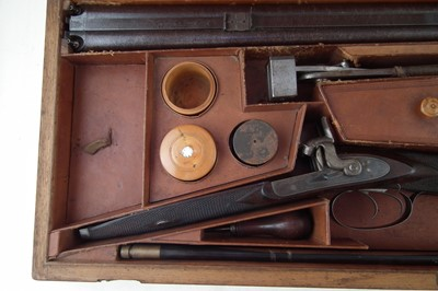 Lot -Cased Alex Henry percussion double rifle retailed by R. T. Pritchett with incredibly unusual rifling.
