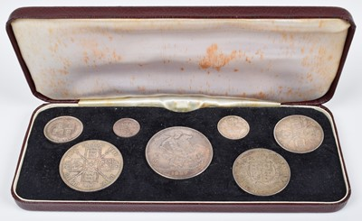 Lot 88-A Queen Victoria 1887 Jubilee 7 coin Silver Specimen Set in case of issue.
