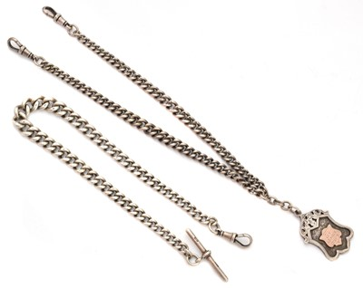 Lot 87 - Two early 20th century silver Albert chains