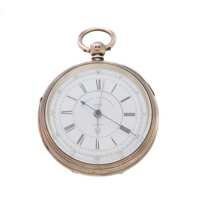 Lot 77 - A silver open face chronograph pocket watch