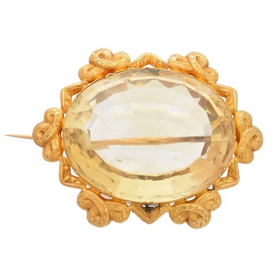 Lot 50 - A late Victorian citrine brooch