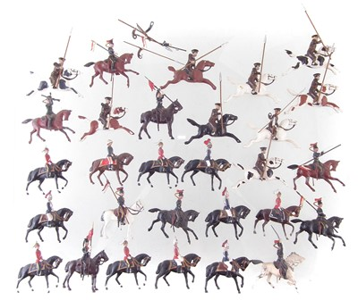 Lot 66-Twenty nine metal British cavalry trooper toy soldiers including Lancers and Life Guards.