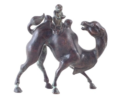 Lot 73 - Bronze model of a camel and monkey