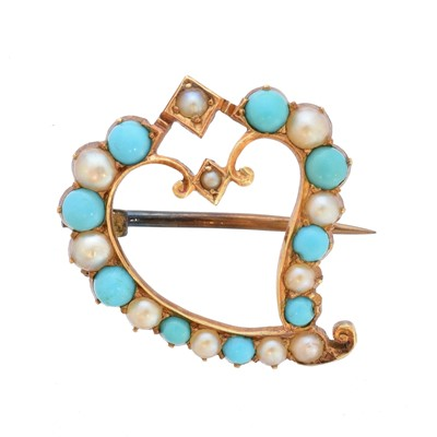 Lot 14-An early 20th century turquoise and split pearl brooch