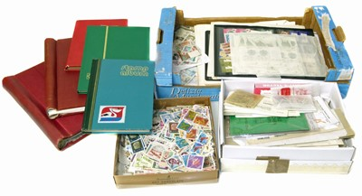 Lot 91-All World stamp collection in carton with 2 albums, 2 stockbooks stamps on leaves