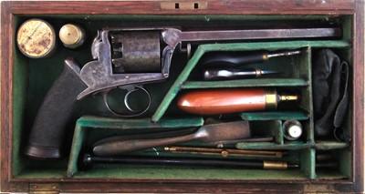 Lot -Cased Deane, Adams and Deane, 38 bore percussion revolver