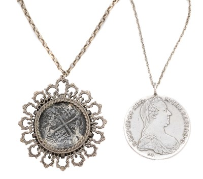 Lot 86 - Two coin pendants