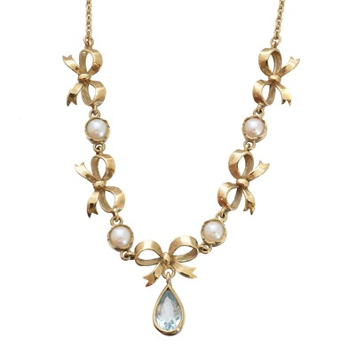 Lot -A 9ct gold aquamarine and split pearl necklace