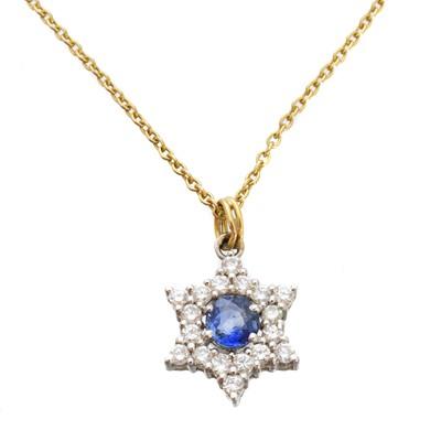 Lot 105 - A sapphire and diamond pendant