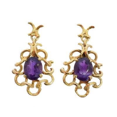 Lot 80 - A pair of 9ct gold amethyst earrings by Deakin & Francis