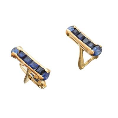 Lot 40-A pair of sapphire cufflinks