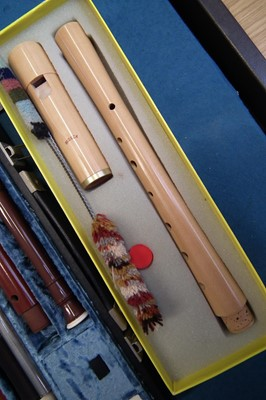 Lot 24-Moeck recorder together with a cased collection of other recorders
