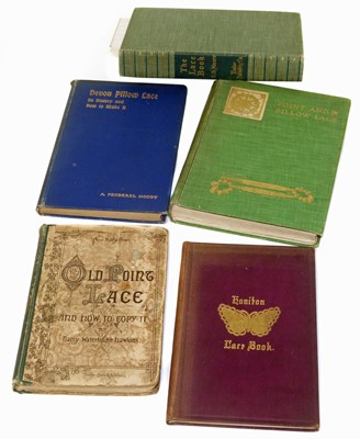 Lot 62-Five refrence books on lace, point lace and pillow lace