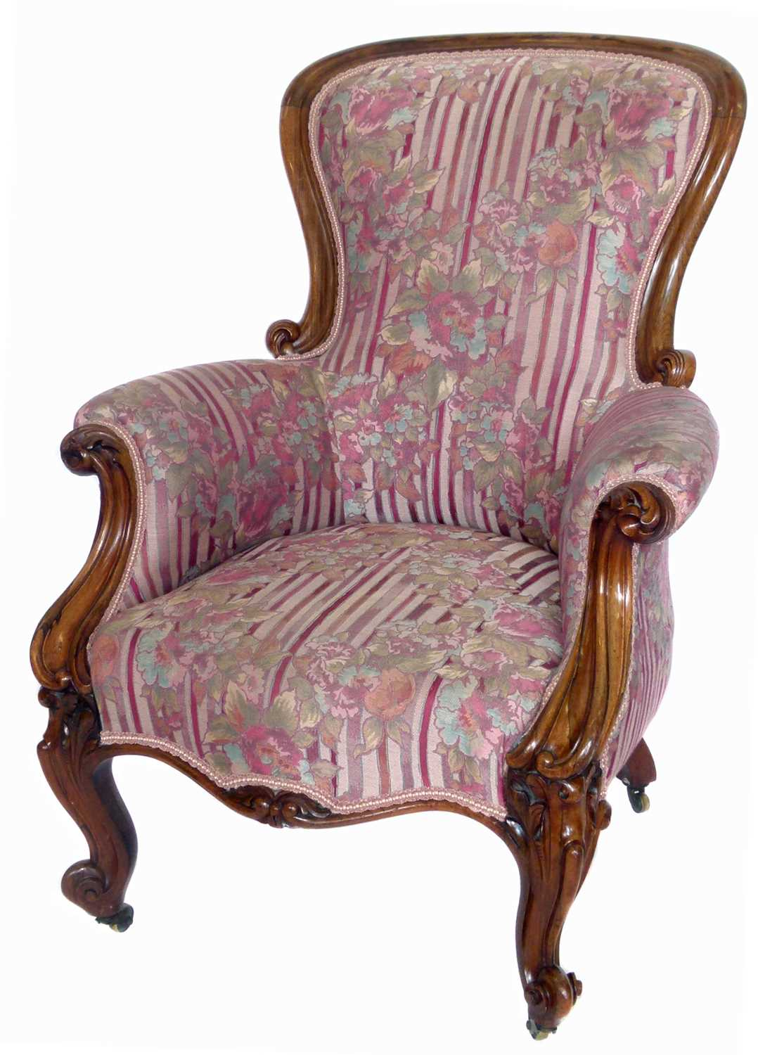 Lot 382 - Victorian rosewood framed upholstered chair