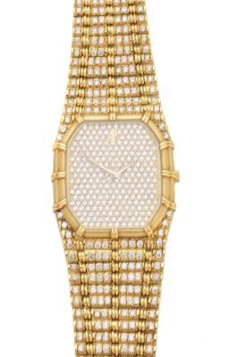 Lot 123 - An 18ct gold diamond Audemars Piguet wristwatch
