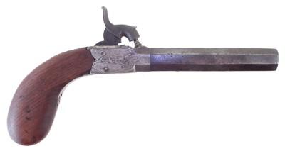 Lot -Blissett Liverpool percussion box lock pistol with folding trigger