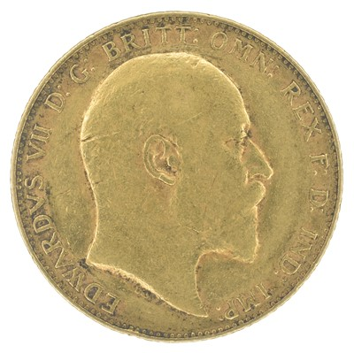 Lot 77-King Edward VII, Sovereign, 1907 and Queen Victoria, Crown, 1897 LXI (2).