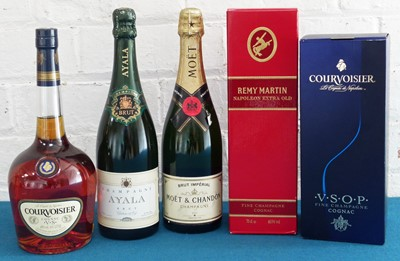 Lot 73 - 5 Bottles Mixed Lot Cognac and Champagne comprising