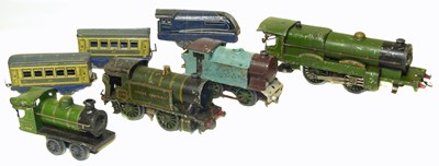 Lot 36-Four Hornby O  Gauge tinplate locos and three others