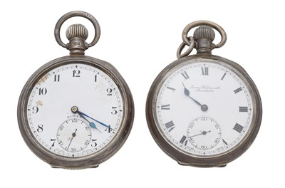 Lot 86 - Two silver open face pocket watches
