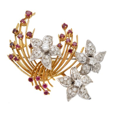 Lot 59 - A 1960s 18ct gold diamond and ruby brooch by Ben Rosenfeld