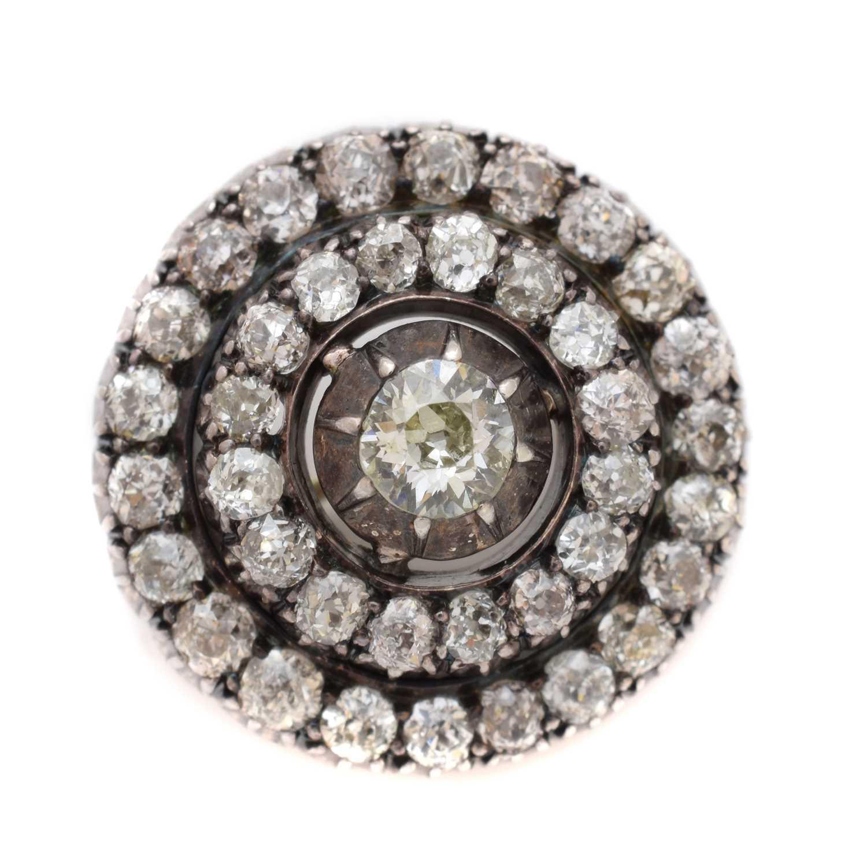 Lot -A late Victorian diamond target brooch