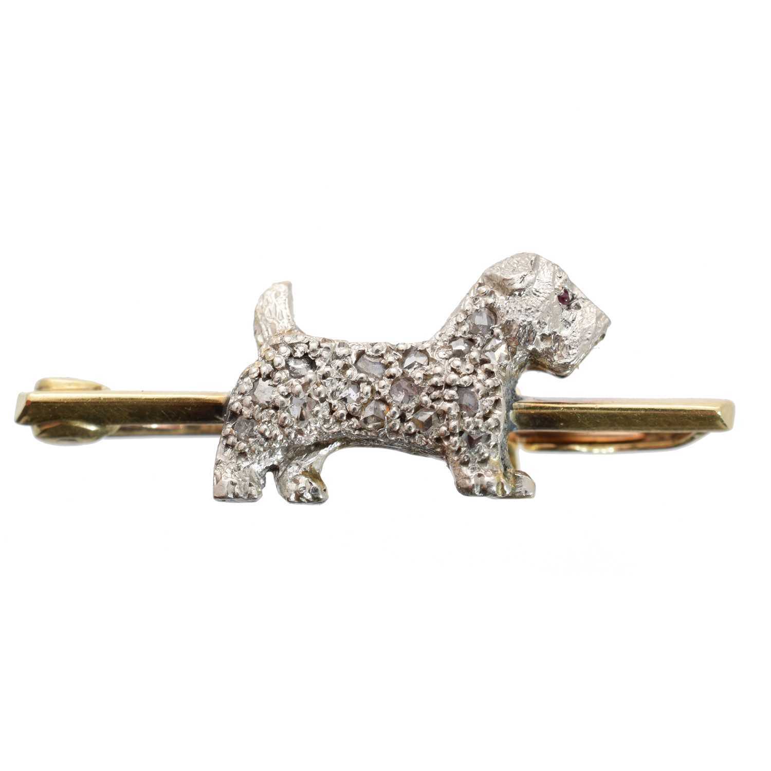 Lot -A diamond dog brooch