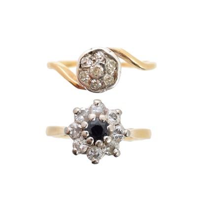 Lot 114 - Two diamond dress rings