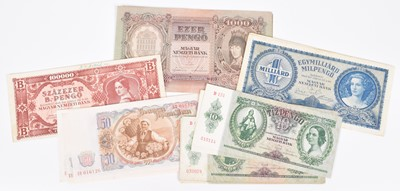 Lot 34-Collection of assorted Bulgarian and Hungarian banknotes.