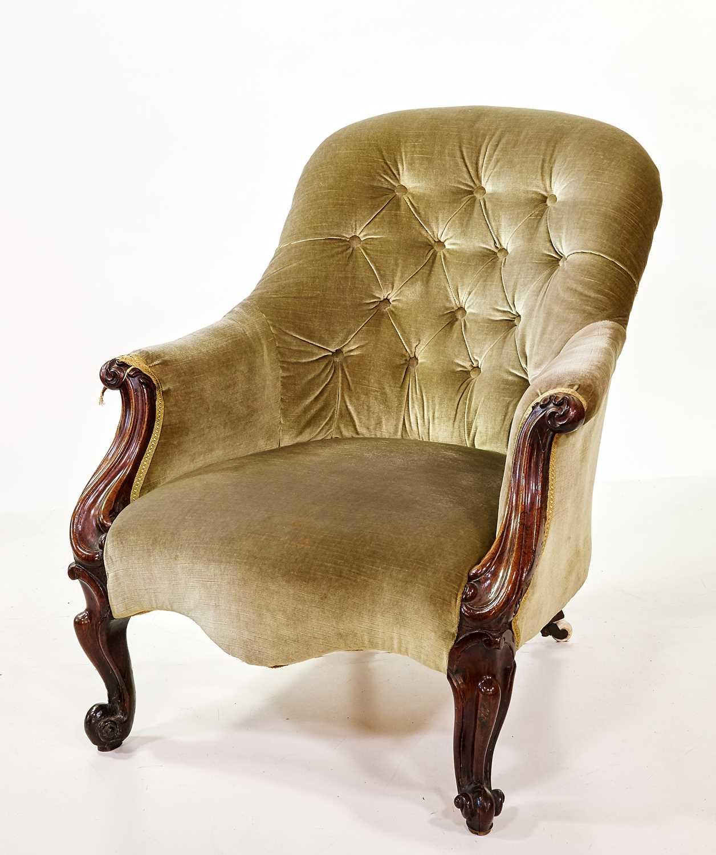 Lot 383 - Victorian deep-buttoned armchair